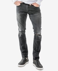 Silver Jeans Co. Men's Taavi Slim Fit Stretch Ripped Black