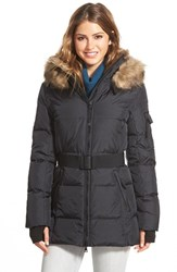 Women's S13 Nyc 'Alps' Faux Fur Trim Belted Down And Feather Fill Parka Black