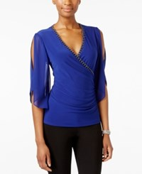 Msk Embellished Faux Wrap Top Moroccan Blue