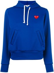 Comme Des Garcons Play Heart Patch Hoodie Blue