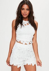 Missguided White Flower Lace High Waisted Shorts