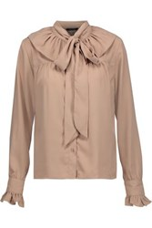 W118 By Walter Baker Heather Pussy Bow Crepe De Chine Blouse Beige