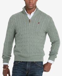 Polo Ralph Lauren Men's Cable Knit Mock Neck Sweater Lovette Heather Green