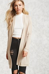 Forever 21 Longline Open Front Cardigan Tan