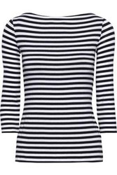 Bailey 44 Woman Succulent Lace Up Striped Stretch Jersey Top Midnight Blue