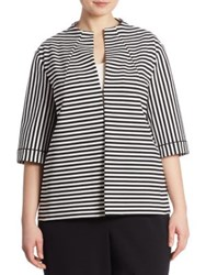 Lafayette 148 New York Striped Ponte Jacket Black Multicolor