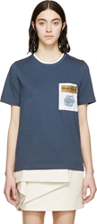 Ostwald Helgason Blue Crocheted Pocket T Shirt