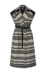 Bibhu Mohapatra Jacquard Stripe Long Vest Black White