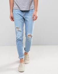 Zeffer Skinny Ripped Jeans In Light Indigo Bleach Wash Blue
