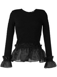 Opening Ceremony Ruffle Hem And Cuff Top Black