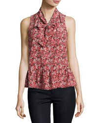 Joie Estero Floral Silk Sleeveless Tie Neck Blouse Coral