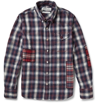 Remi Relief Button Down Collar Checked Cotton Flannel Shirt Blue