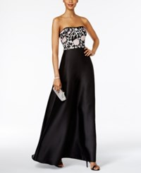 Adrianna Papell Convertible Strapless Gown Light Pink Black