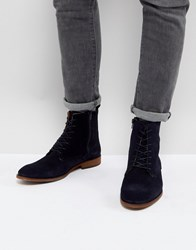 Zign Suede Lace Up Boots In Navy