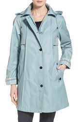 Women's Gallery Plaid Trim A Line Coat Chambray