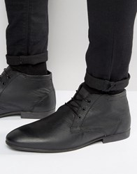 Asos Chukka Boots In Black Leather Black
