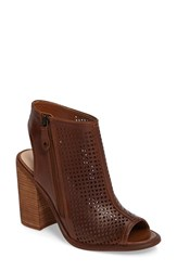 Kelsi Dagger Women's Brooklyn Mason Peep Toe Perforated Bootie Tan Leather