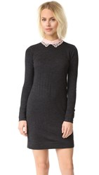 Club Monaco Lissah Lace Collar Sweater Dress Charcoal Light Pink
