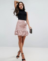 Asos Bubble Hem Mini Skirt In Leather Look Pink