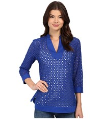 Christin Michaels Vienne Eyelet Top French Blue Women's Clothing