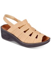 Easy Street Shoes Floaty Wedge Sandals Women's Tan