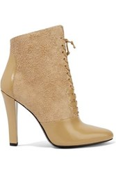 3.1 Phillip Lim Harleth Lace Up Suede And Glossed Leather Ankle Boots Beige