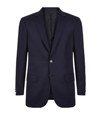 Brioni Hopsack Wool Button Jacket Male Navy