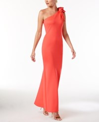 Betsy And Adam Ruffled One Shoulder Scuba Gown Coral