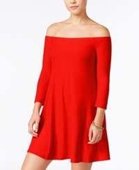 Planet Gold Juniors' Off The Shoulder Swing Dress Red