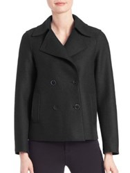 Harris Wharf London Virgin Wool Cropped Peacoat Cerulean Black