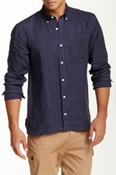 Apolis Tailor Fit Linen Long Sleeve Button Down Shirt Gray