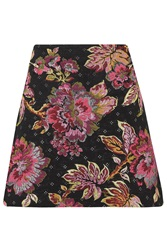 Almost Famous Floral Jacquard Skirt Pink