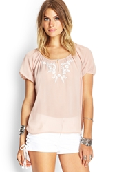 Forever 21 Embroidered Chiffon Peasant Top