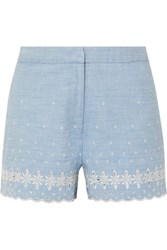 J.Crew Broderie Anglaise Cotton Chambray Shorts Blue