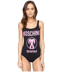 Moschino Flamingo Maillot Black Women's Swimsuits One Piece