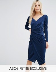 Asos Petite Long Sleeve Wrap Pencil Dress Blue
