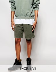 Reclaimed Vintage Shorts In Overdye Khaki Green