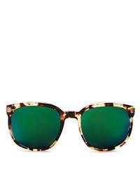Wildfox Couture Geena Mirrored Square Sunglasses 55Mm Amber Tort Brown Green Mirror