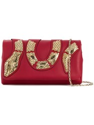 Red Valentino Embellished Snake Clutch Red