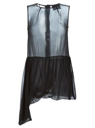 Erika Cavallini Semi Couture Sheer Draped Blouse Black