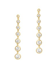 Crislu Cubic Zirconia And 18K Gold Plated Sterling Silver Drop Earrings
