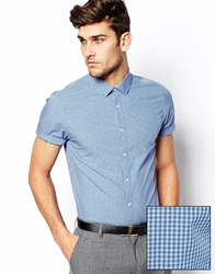 Asos Smart Shirt In Short Sleeve With Mini Check Blue