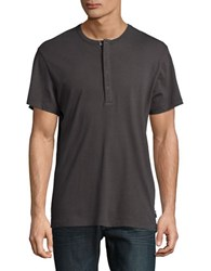 French Connection Solid Henley Tee Grey