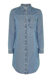Topshop Moto Denim Fitted Western Dress Mid Stone