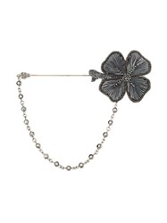 Dolce And Gabbana Embroidered Clover Pin Metallic
