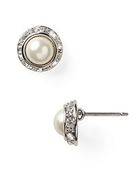 Ralph Lauren Mini Pearl Cabochon And Pave Bezel Stud Earrings Silver