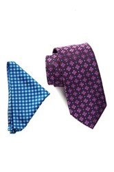 Wurkin Stiffs Fashion Tie And Pocket Square Set Purple