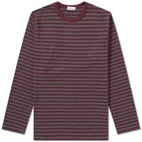 Nanamica Coolmax Stripe Long Sleeve Tee Burgundy