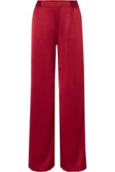 Alice Olivia Racquel Satin Wide Leg Pants Claret