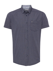 Duck And Cover Check Classic Fit Short Sleeve Button Down Shirt Navy